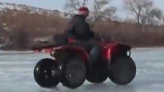 Here's A Grandma Doing ATV Donuts On Ice