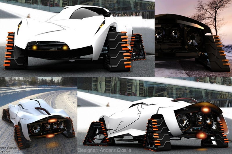Frost Snow Sport Car Changes Tires for Treads