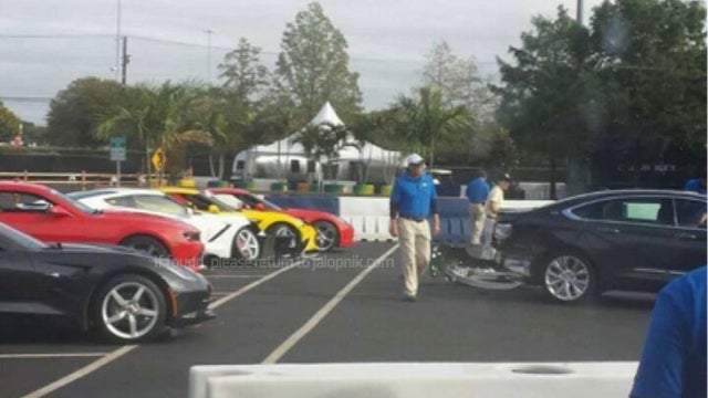 Someone Crashed A New 2014 Impala Into Three New Corvette Stingrays