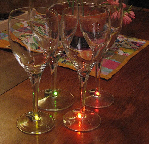 Light up Your Wine Glasses with an LED Wine Charm