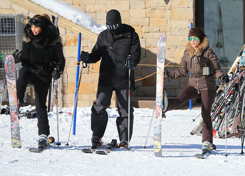 Kanye Goes Skiing With Kim and Enjoys the View
