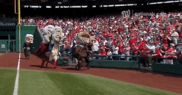 Easter Bunny Ambushes Racing Presidents At Nationals Game