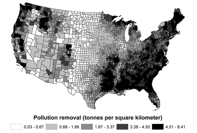 A Map of How Much Pollution Trees Have Scrubbed From Our Air