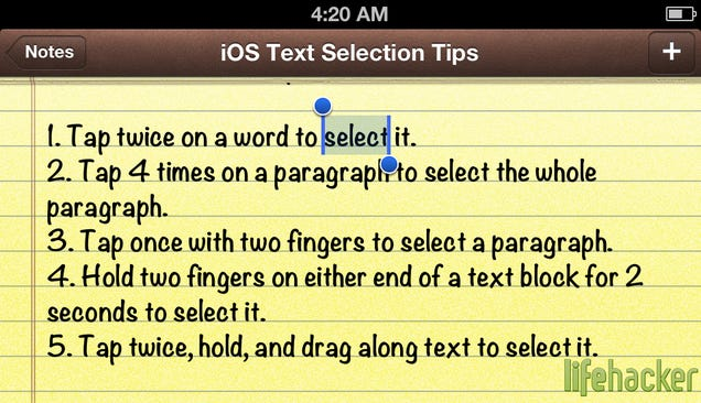 Five Shortcuts for Faster Text Selection in iOS