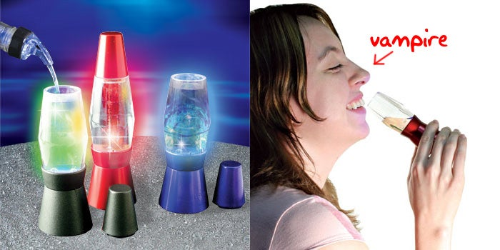 Lava Lamp Shot Glasses Blink with LEDs, Turn You Into a Vampire