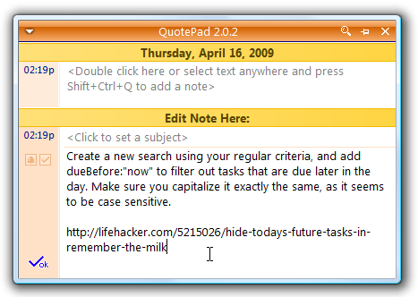 QuotePad is a Tiny, Portable Note Manager