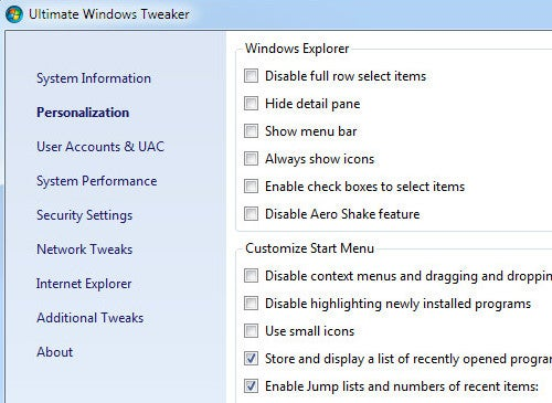 Best Windows 7 Tweaking Application: Ultimate Windows Tweaker