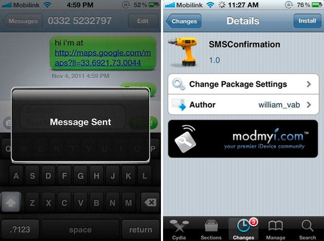 Get SMS Delivery Confirmations on Your iPhone Pushed to You
