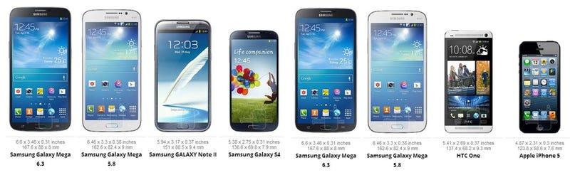 El gigantesco Samsung Galaxy Mega, frente a sus rivales