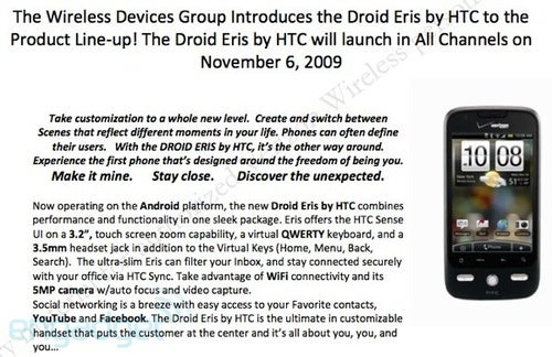Leaked Docs Confirm Droid Eris Details: November 6 for $99
