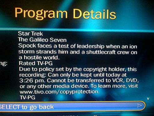 TiVo Auto-Delete Flag Returns (Thank God It Was Only Star Trek)