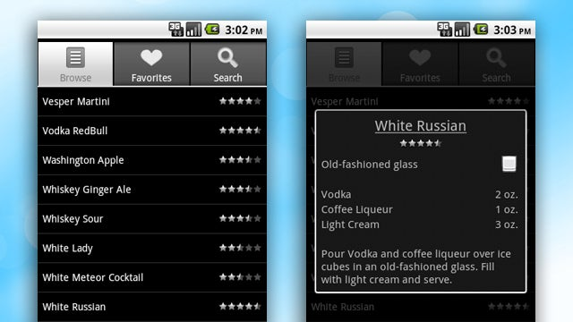 Bartender for Android Teaches You to Mix Almost Any Drink