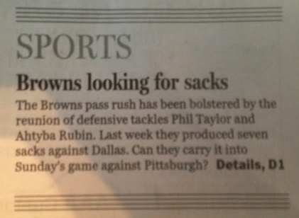 Cleveland Newspaper Headline Inadvertently Says Browns Have No Balls