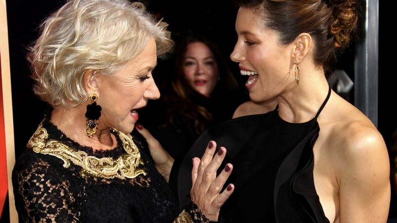 Helen Mirren Totally Groped Jessica Biel at the Hitchcock Premiere
