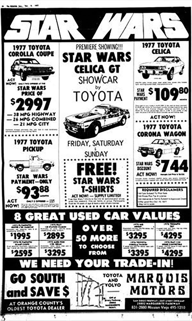 Has Anyone Seen The Star Wars Toyota Celica? Seriously, It's Missing