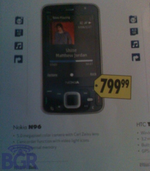 Nokia N96 Media-Cameraphone Lands at Best Buy For $800
