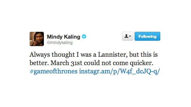 Mindy Kaling Is of the House Lannister