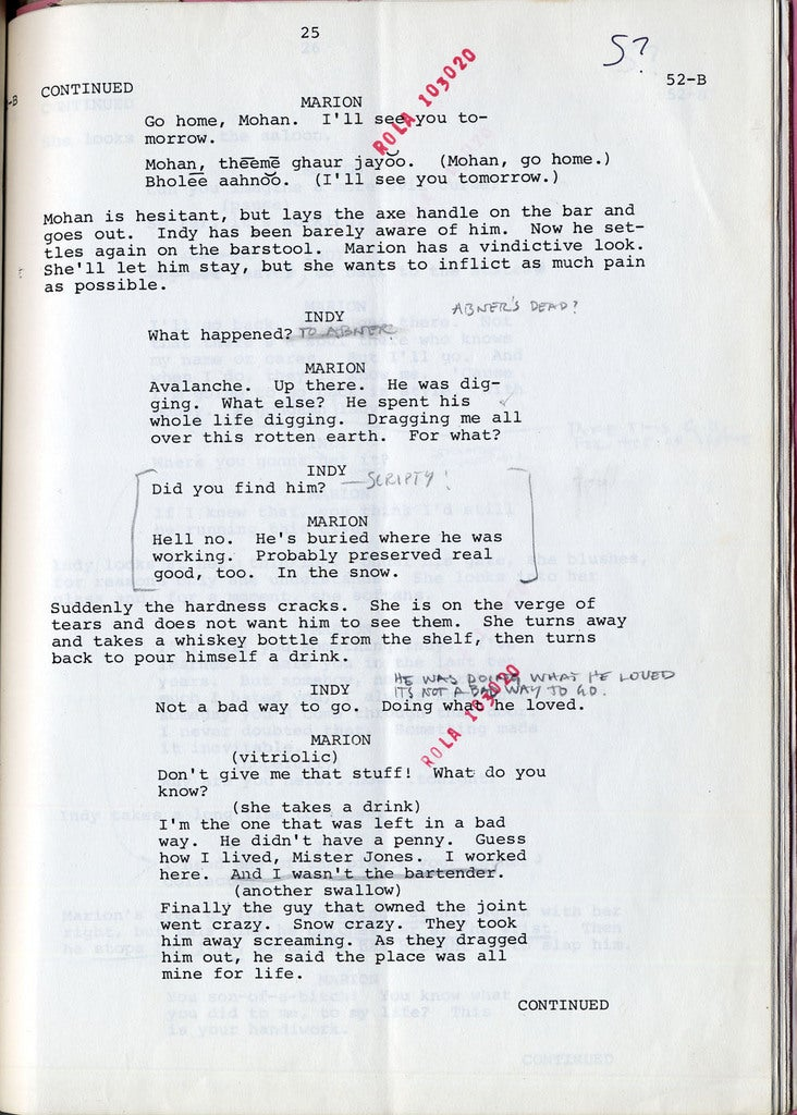 Read Harrison Ford's original script notes from Raiders of the Lost Ark
