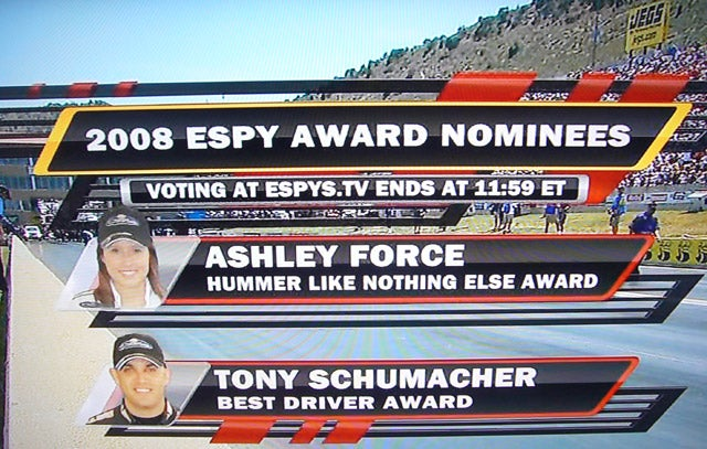 Best Of Luck To Ashley Force At The ESPY Awards Tonight