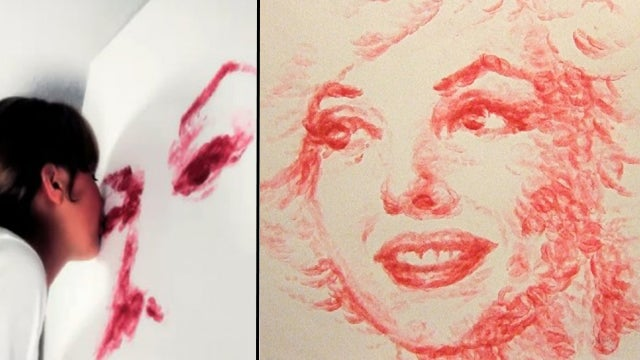 Artist Paints Portraits With A Tube Of Lipstick And Her Lips