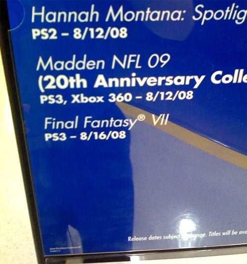Best Buy Advertising Final Fantasy VII PS3