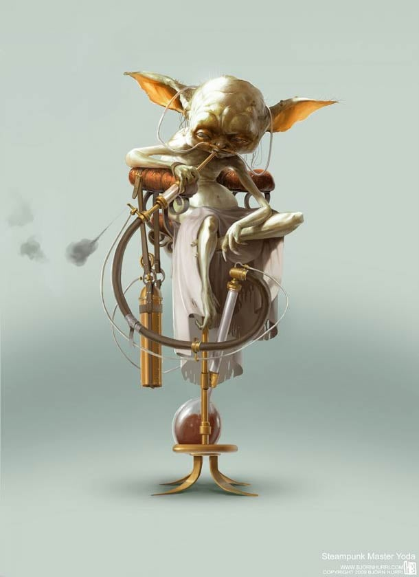 Steampunk Star Wars art brings us clockwork Threepio and naked hedonist Jabba