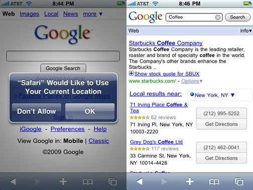 Google Now Finds Stuff Nearby Using Your Location in Mobile Safari