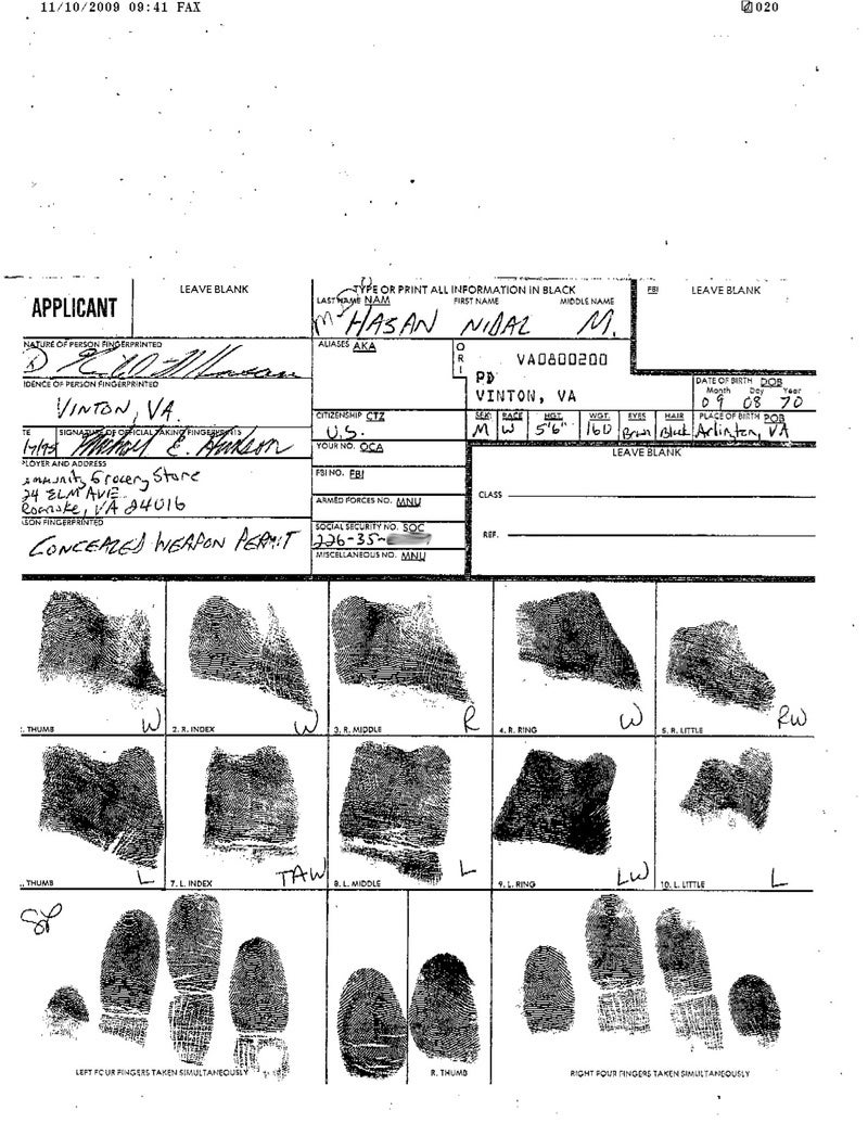 Nidal Malik Hasan's Application for a Concealed Weapons Permit