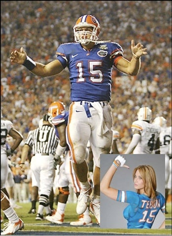 Tim Tebow Messiah Watch: Body-Painted Mary Magdalene Edition
