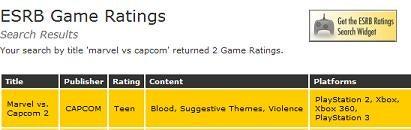 ESRB Rates Marvel Vs. Capcom 2 For 360, PS3