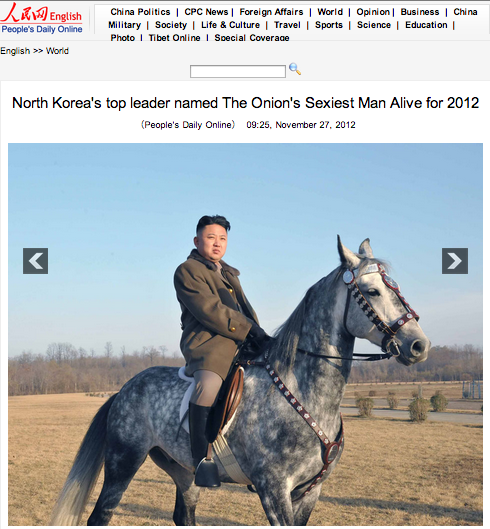 China Thinks The Onion's Sexiest Man Alive is a Real Thing and that Kim Jong-Un Won It [UPDATE]