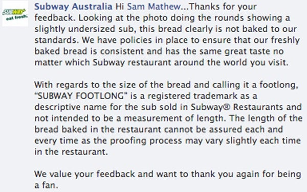 Subway Responds to Sandwich Scandal: 'Footlong Not Intended to Be a Measurement of Length'