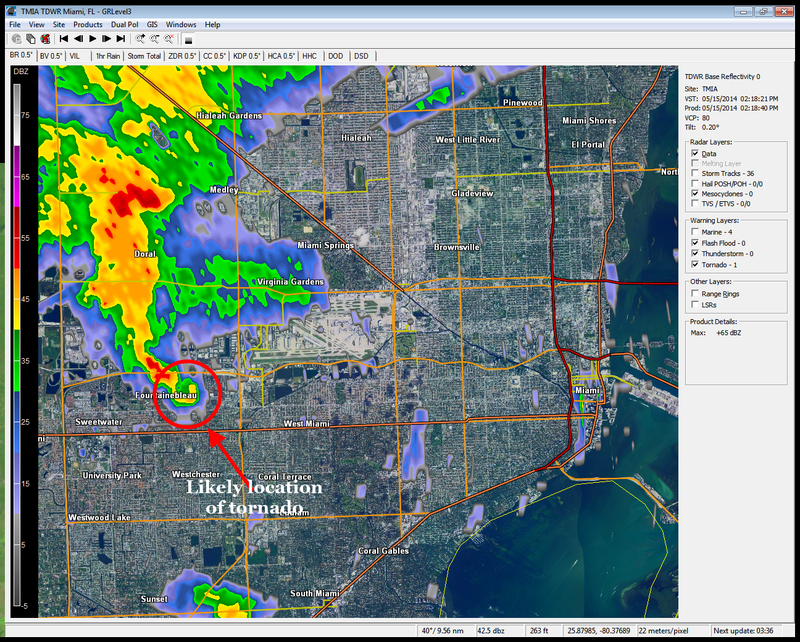 Tornado Spotted Just West of Miami International Airport