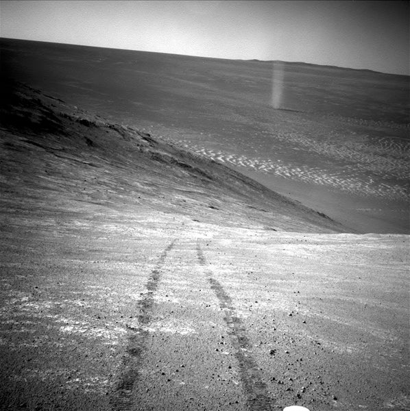 The Opportunity Rover Spotted a Martian Dust Devil on Its Tail