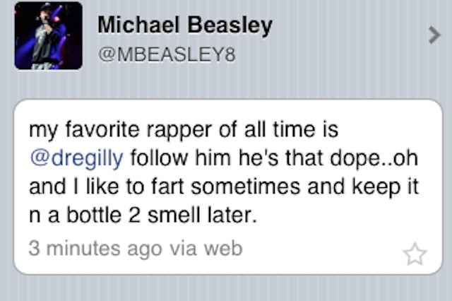 """Today In Michael Beasley Is An Enormous Weirdo: """"I Like To Fart Sometimes And Keep It N A Bottle 2 Smell Later"""""""
