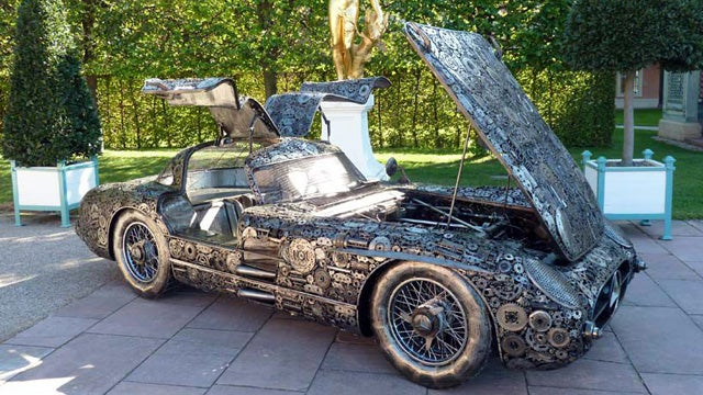 A Mercedes built out of 10,000 pieces of scrap metal