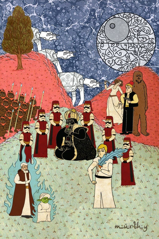Famous science fiction movies, depicted as 16th century Ottoman paintings