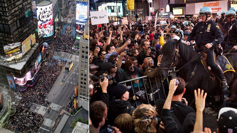 Thousands of Protesters Occupy Times Square, Hundreds Arrested Across U.S.