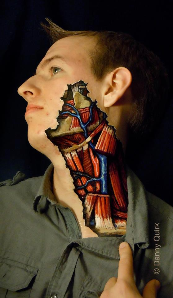 Anatomical illustrations painted directly on human bodies
