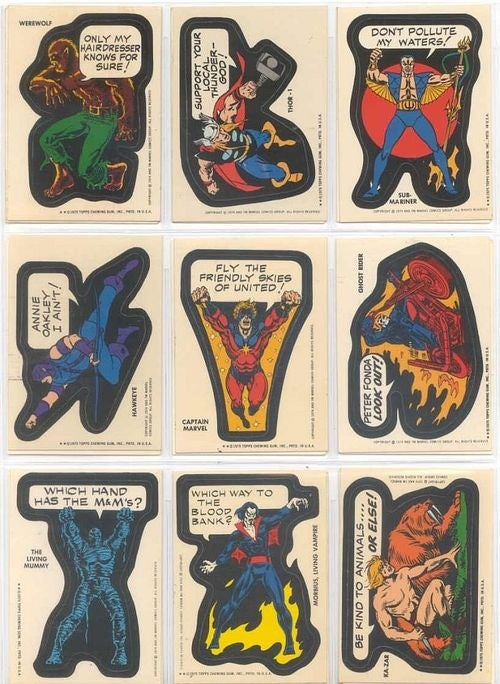 On Old Marvel Superhero Stickers, Captain America Screams About Oral Hygiene