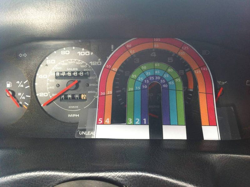 """My speedometer is broken, but the tachometer works just fine. I made a graph so I could still tell how fast I was going."" lol"