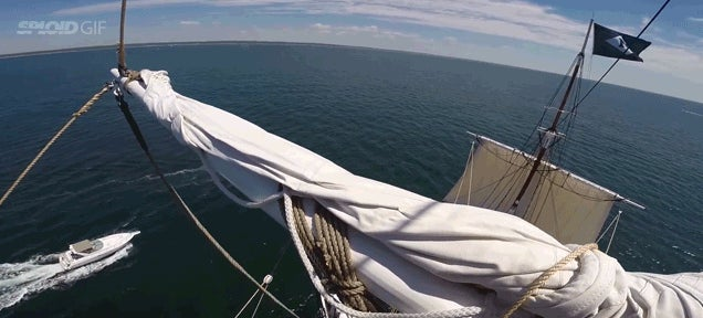 Cool point of view video shows how it looks to climb a huge ship mast