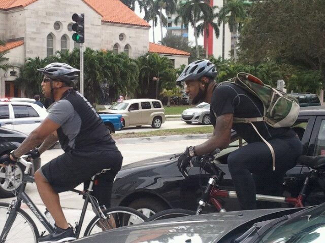 A Bicycle-Mounted LeBron James Photobombed The Miami Marathon