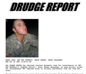 """Drudge Shatters 'New Republic' On Dickhead 'Baghdad Diarist"""" With Internal Memos, Then Yanks Docs"""