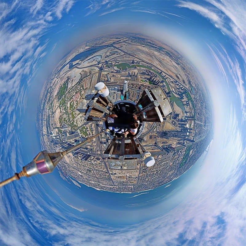 Así se hace una panorámica desde el edificio más alto del mundo