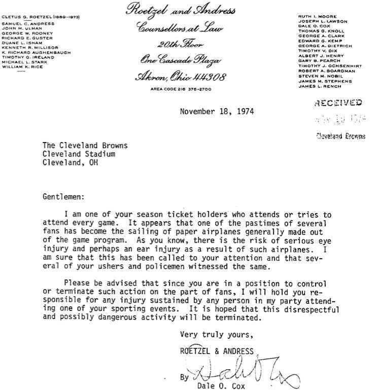 The Greatest Letter Ever Printed On NFL Team Letterhead