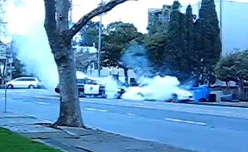 Angry Woman Rams Her Camaro Into Police Car