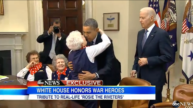 Real Life Rosie the Riveter Sneaks a Kiss on the Lips From Obama