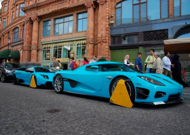 New Harrods Owners' $2.5M Supercars Booted (Outside Store They Bought For $2.5B)