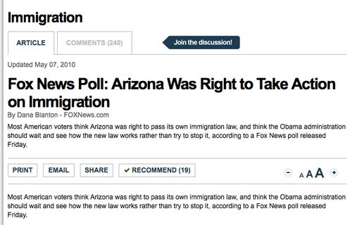 Fox News Survey Says Most Americans Agree With Arizona Immigration Bill